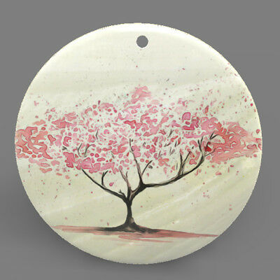 Mother of Pearl Shell Tree Color Printing Pendant Necklace J1705 0500