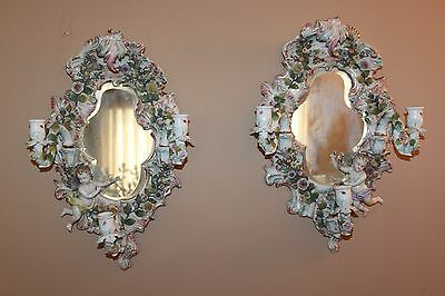 Antique Pair Of Rococo Style Porcelain Wall Mirror With Signed