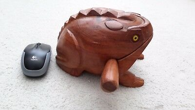 Large Hand Carved Wooden Frog - Percussion croaking sound.