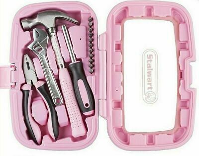 Pink Tool Set Hand Tools Kit Women Craftsman Case Girls Ladies Mini Box