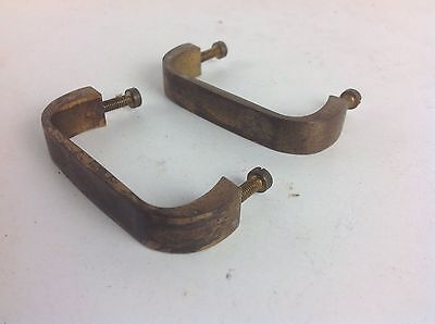Pair Of Brass Pull Drawer Draw Handles Old Reclaimed Architectural