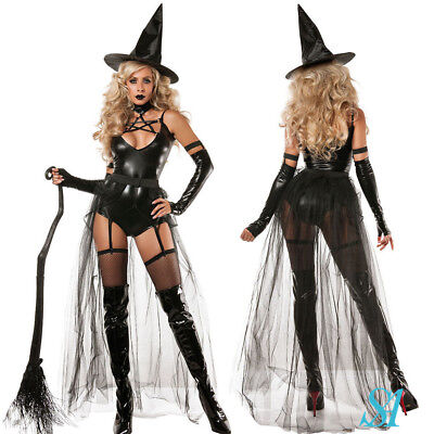 Sexy Ladies Adult Unique Wicked Witch Halloween Party Fancy Dress Costume Set UK