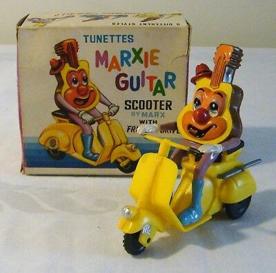 Early Marx Toys Friction Tunettes MARXIE GUITAR SCOOTER 60's V RARE MINT IN BOX