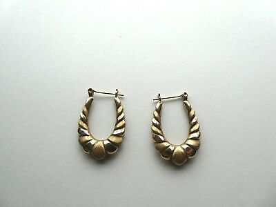 Vintage 10K Yellow Gold Detailed Hoop Earrings