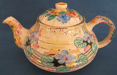 Vintage Art Deco Cream Hand Painted Flowers Pink Yellow Blue Gold Teapot England