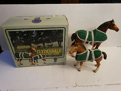 Vintage Breyer horse #83/84 clydesdale mare & foal w/beat up box 2 horses