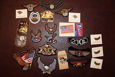 Harley Davidson Patches, Pins, Stickers and Replacement Buttons - large lot