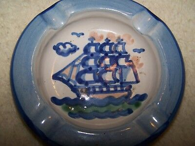 "M.A. Hadley Pottery Masted Sailing Ship Large 7.25"" Ashtray, Hand Painted, USA"