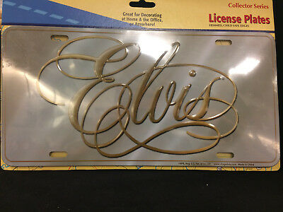 Elvis Presley Silver And Gold Metal License Plate