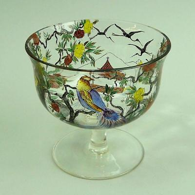 Fine Signed Paris Hand Painted Enamelled Glass Bon Bon Dish