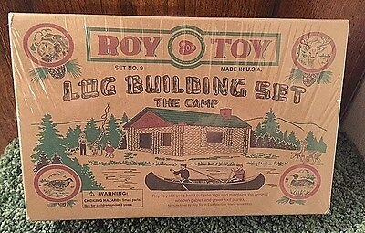 Brand New In Sealed Box!!~Roy Toy Log Building Set~The Camp~Set No. 9~Pine Logs