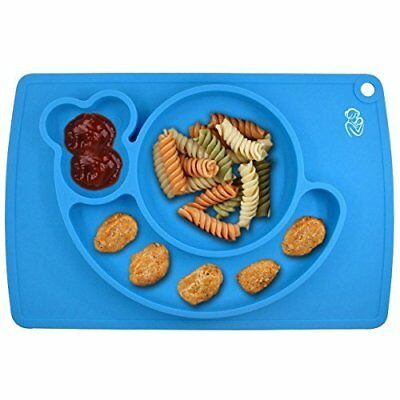silicone Placemat Bowl And Tray - 3 Compartments Plate For Kids, Babies (blue)