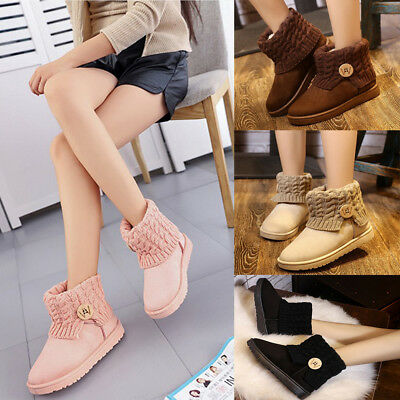 Women Winter Warm Fur Lined Snow Boots Thicken Suede Knit Ankle Boots Flat Shoes