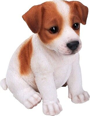 Sitting Jack Russell Terrier Pup Realistic Lifelike Dog Statue Home Garden Decor
