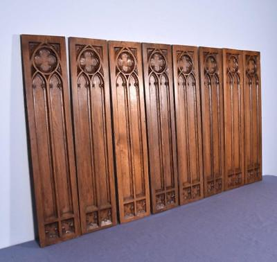 Antique French Gothic Revival Panels in Oak Wood
