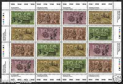 Canada Stamps — Full Pane of 16 — The Second World War -1940 #1298-1301 — MNH