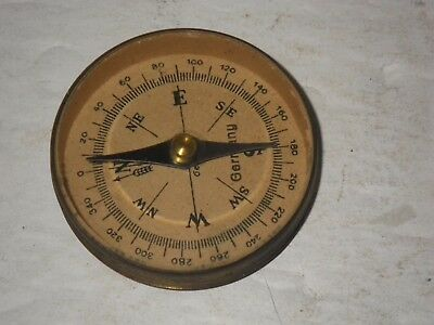 Vintage German Compass Old Made In Germany Brass Handheld Pocket Compass Ww2