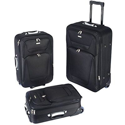 GLOBALWAY 3 PCs Luggage Travel Set Trolley Bag Suitcase 2 Wheels Black New