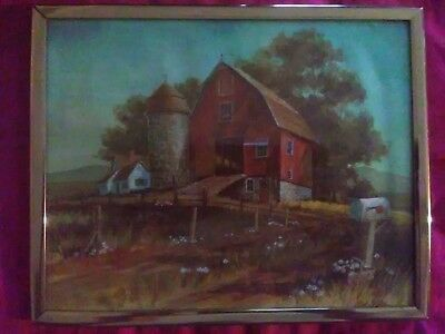 Rare Vtg Framed Country Farm Red Barn Landscape Print - Signed BOB BATES