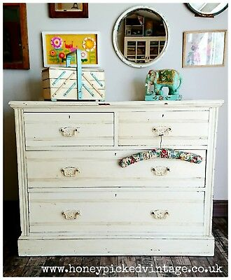 Edwardian Chest of Drawers Shabby Chic French Shape old cream gloss chippy wood