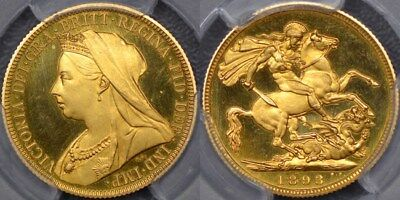 Great Britain, 1893 Proof Sovereign - PCGS PR65DCAM