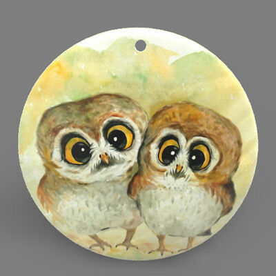 Mother of Pearl Shell Owls Bird Color Printing Pendant Necklace J1705 0401