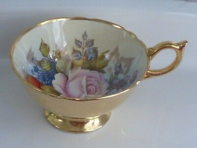 Vintage Aynsley Gold Tea Cup Cabbage Rose & Poppy England Signed J.A. Bailey