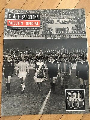 Lot 2 Bulletin Official Barcelona 1964 Inter Cities Fairs Cup Celtic Glasgow