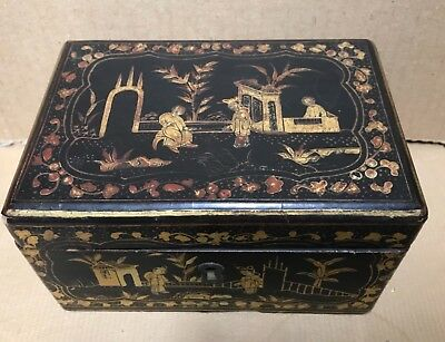 Antique Chinese Export Black Lacquer Tea Caddy Box With Pewter Insert