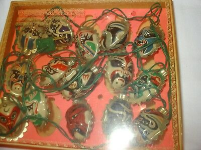 Decorative string of 15 lanterns/lights of Chinese Opera Faces