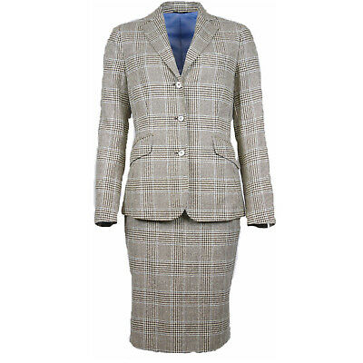 Attolini Costume Ladies Brown/ Beige/ Light Blue Checked Size 38 (Previously