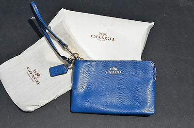 Coach Corner Zip Wristlet in Blue Crossgrain Leather New, with Tags