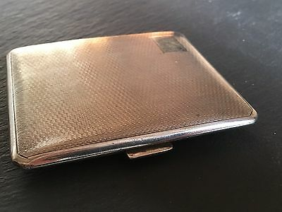 Antique Solid Silver Cigarette Case Art Deco Style 88g Engine Turned Detail