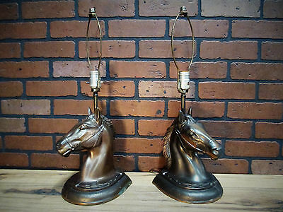 Vintage Antique Pair Western Texas Ranch Horse Head Copper Plated Table Lamps