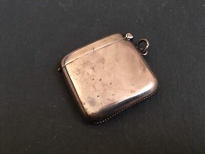 Antique Solid Silver Vesta Case Match Safe Of Plain Style 25g Hallmarked 1924