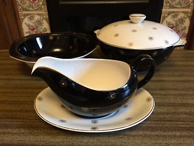 1960S Retro Meakin Black Midnight Star Gravy Boat / Tureen  / Serving Dish Bowl