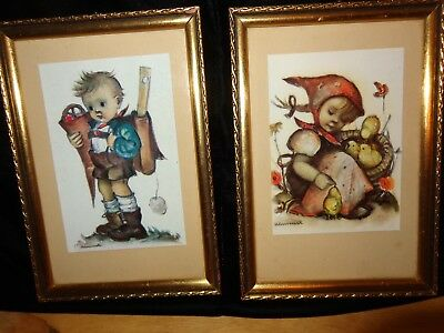 Two Vintage Hummel German Pictures Rare Boy And Girl w/Original Frame