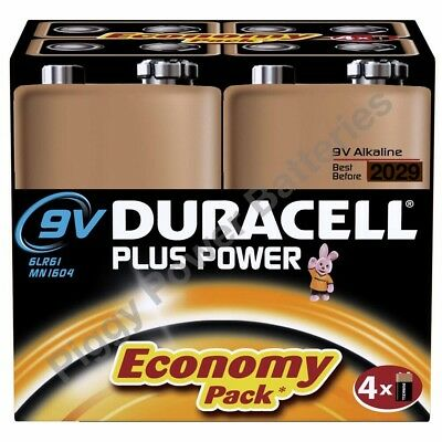 Duracell Plus Power 9V 6LR61 PP3 Batteries | 4 Pack