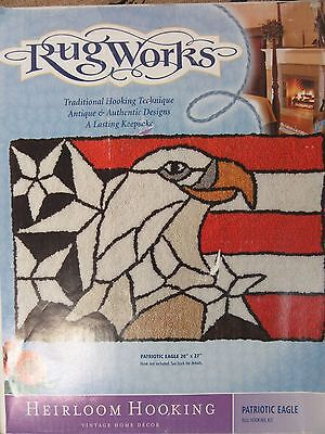 Rug Works Primitive Rug Hooking Kit Patriotic Eagle USA 20x27 Red White Blue