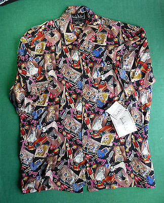 Nicole Miller Silk Barbie Print Unisex Camp Shirt - Small  -1994 - New With Tag