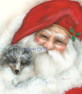 Sheltie Pup  Santa note cards add a short message inside Free