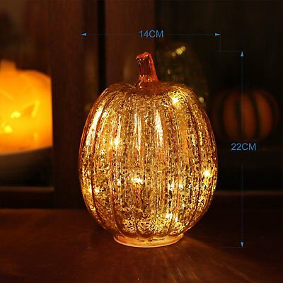 Mercury Glass Orange Pumpkin Lighted Halloween w/Timer for Fall Decoration 8.7""