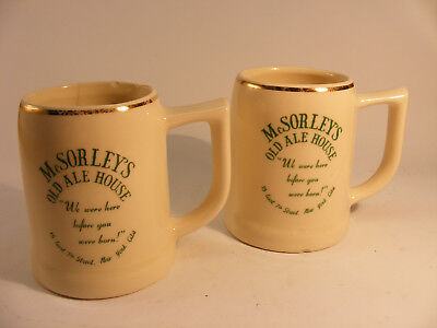 Two vintage McSorley's Ale House heavy ceramic beer mugs New York City NYC beer