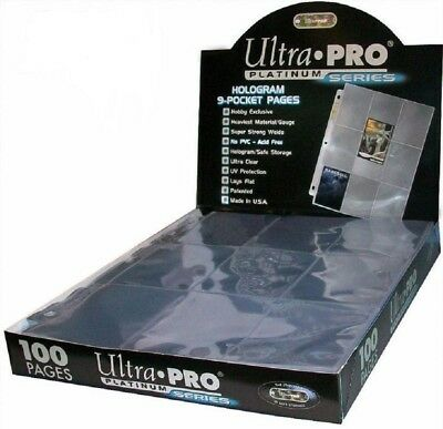 Ultra Pro Platinum A4 9 Pocket Pages - Trading Cards - Clear Sleeves - QUALITY!