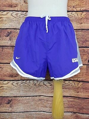 "NWT Nike Dri-Fit Tempo Womens Running Short Purple White Silver ""USAF"" Medium"