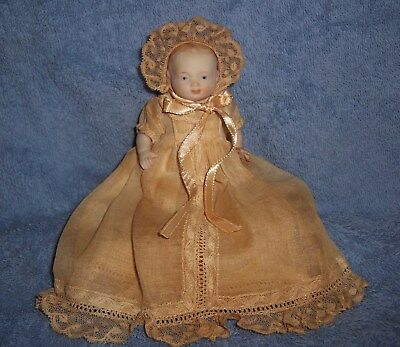 ADORABLE! Vintage Antique All Bisque Baby Doll in Long Gown & Matching Bonnet