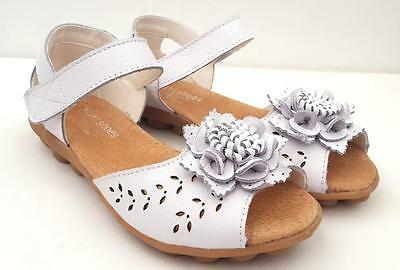 Ladies Sandals Comfort Full LEATHER FLATS Mary Jane FLOWER Nodules Sole SHOES