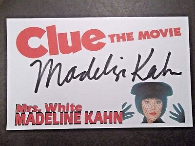 """""""CLUE THE MOVIE"""" Madeline Kahn """"MRS. WHITE"""" Autographed 3x5 Index Card"""