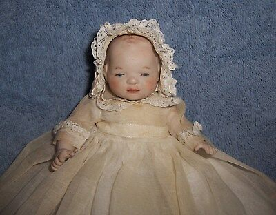 SWEET! Antique German All Bisque Baby Doll in Lovely Christening Gown & Bonnet