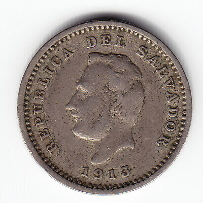 EL SALVADOR 1 centavo 1913-H KM106 CuNi 2yr type the ONLY date in XX c.VERY RARE